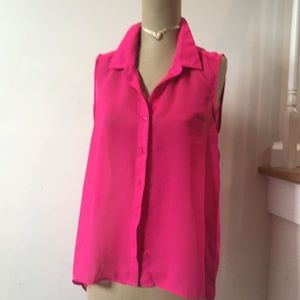 Sheer hot pink button down, longer in back